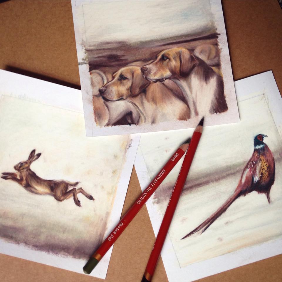 hounds pheasant hare drawings Casey Allum artist
