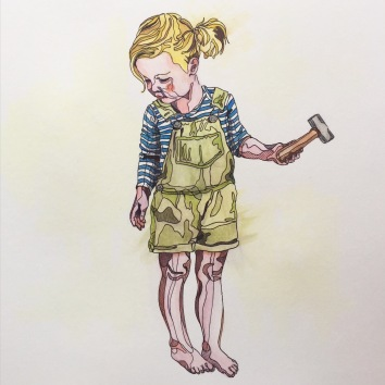 inventor sketch biro watercolour Casey Allum artist