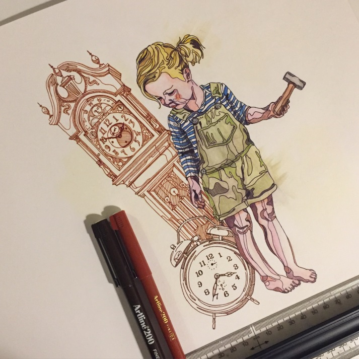 inventor cute sketch watercolour fineliner Casey Allum artist