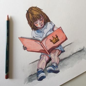 reading girl watercolour illustration Casey Allum artist
