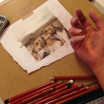 hounds drawing wip Casey Allum artist