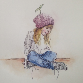 seedling sketch biro watercolour cute Casey Allum artist