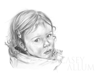 childs portrait in pencil Casey Allum
